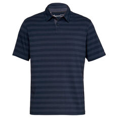 Under Armour Mens Charged Cotton Scramble Stripe Sportwear Polo Navy S, Navy, rebel_hi-res