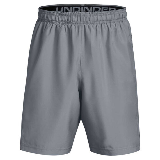 Under Armour Mens Woven Graphic Training Shorts, Grey/Black, rebel_hi-res