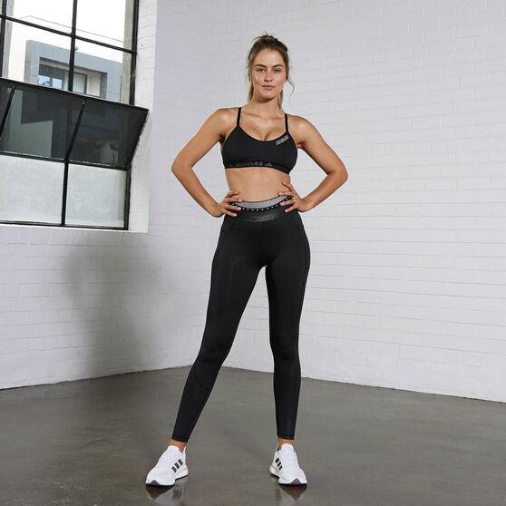 adidas Womens All Me Branded Sports Bra, Black, rebel_hi-res