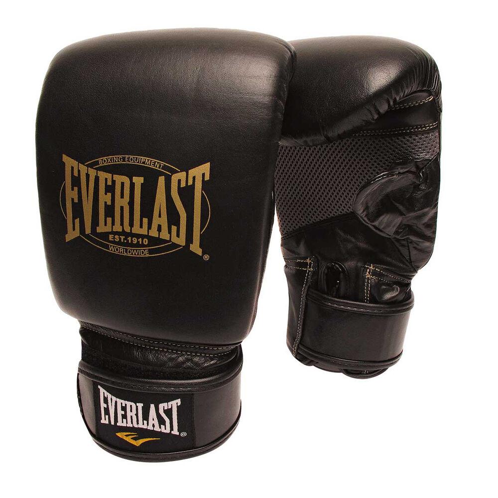 Shiv Naresh Teens Boxing Gloves 12oz: Everlast 1910 Leather Training Boxing Gloves Black