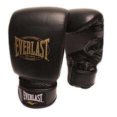 Everlast 1910 Leather Training Boxing Gloves Black, Black, rebel_hi-res