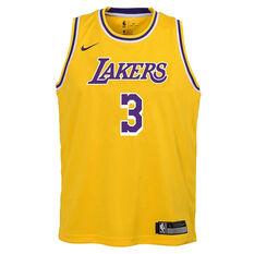 Nike Los Angeles Lakers Anthony Davis 2020/21 Kids Icon Jersey, Yellow, rebel_hi-res