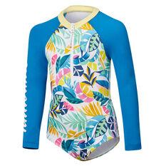 Tahwalhi Girls Rainbow Long Sleeve One Piece Swimsuit Blue 4, Blue, rebel_hi-res