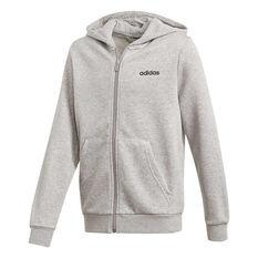 adidas Boys Essentials Linear Full Zip Hoodie Grey / Black 4, Grey / Black, rebel_hi-res