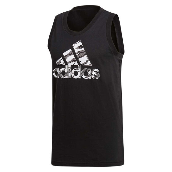 adidas Mens Badge of Sport Camo Tank, Black, rebel_hi-res