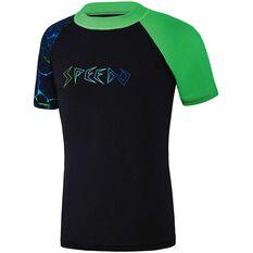 Speedo Boys Dissect Short Sleeve Sun Top Green 8, Green, rebel_hi-res