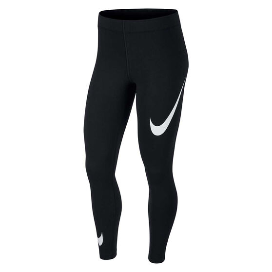 Nike Womens Leg A See Swoosh Tights Black XS, Black, rebel_hi-res