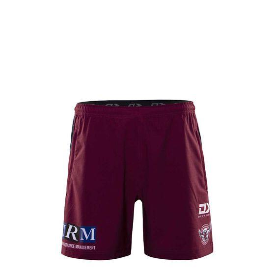 Manly Warringah Sea Eagles 2020 Kids Gym Shorts, Maroon, rebel_hi-res
