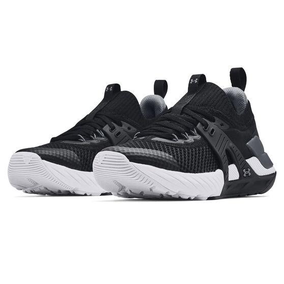 Under Armour Project Rock 4 Kids Training Shoes, Black/White, rebel_hi-res