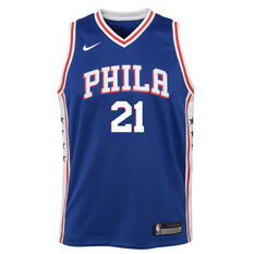 Nike Philadelphia 76ers Joel Embiid Icon 2019 Swingman Jersey Blue / Red S, Blue / Red, rebel_hi-res