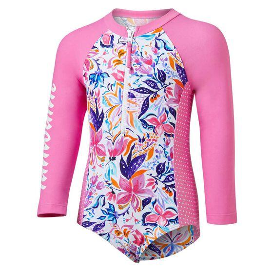 Tahwalhi Toddler Girls Crayon Colourbook Long Sleeve One Piece, Pink / White, rebel_hi-res