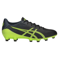 Asics Menace Mens Football Boots Black / Green US Mens 7 / Womens 8.5, Black / Green, rebel_hi-res