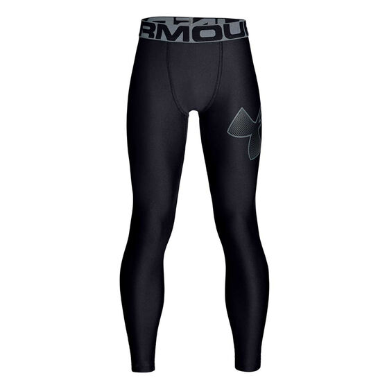 Under Armour Boys Armour HeatGear Training Tights, Black / Grey, rebel_hi-res