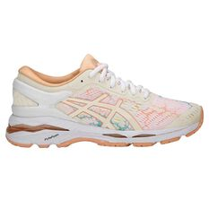 Asics Gel Kayano 24 Lite Show Womens Running Shoe White / Apricot US 6, White / Apricot, rebel_hi-res