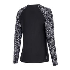 Zoggs Womens Glacier Long Sleeve Zip Rash Vest Black / Multi 8, Black / Multi, rebel_hi-res