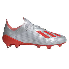 adidas X 19.1 Football Boots Silver / Red US Mens 7 / Womens 8, Silver / Red, rebel_hi-res