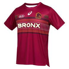Brisbane Broncos 2021 Mens Run Out Tee Maroon S, Maroon, rebel_hi-res