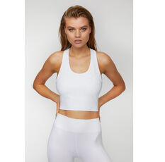 L'urv Womens Infinity Seamless Midi Sports Bra White XS, White, rebel_hi-res