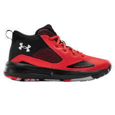 Under Armour Lockdown 5 Kids Basketball Shoes Red/Black US 4, Red/Black, rebel_hi-res