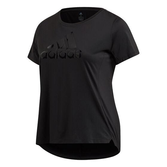 adidas Womens Glam On Badge Of Sport Tee Plus, Black, rebel_hi-res