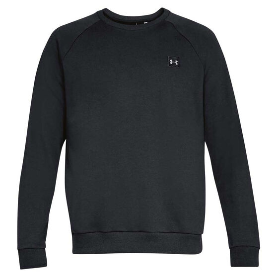 Under Armour Mens Rival Fleece Crew Sweater, Black, rebel_hi-res