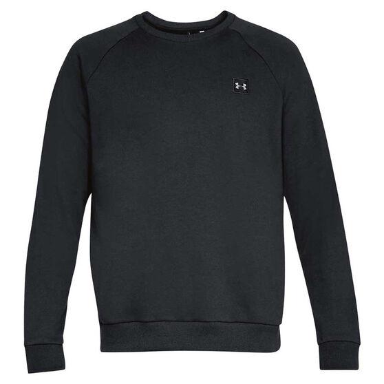 Under Armour Mens Rival Fleece Crew Sweater Black M, Black, rebel_hi-res