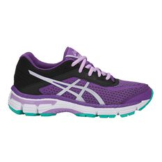 Asics 2000 6 Kids Running Shoes Purple / Silver US 1, Purple / Silver, rebel_hi-res