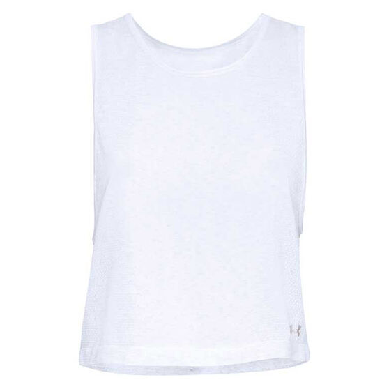 Under Armour Womens Threadborne Seamless Muscle Tank White XL, White, rebel_hi-res