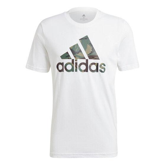 adidas Essentials Mens Camouflage Print Tee, White, rebel_hi-res