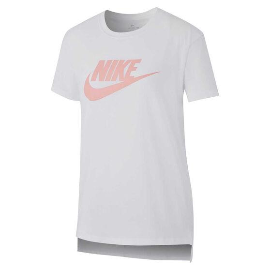 Nike Girls Sportswear Basic Futura Tee White XL, White, rebel_hi-res
