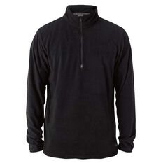 Elude Mens Quarter Zip Microfleece Jumper Black M, Black, rebel_hi-res