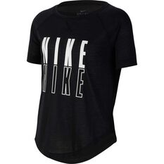 Nike Girls Trophy Graphic Tee Black / White XS, Black / White, rebel_hi-res