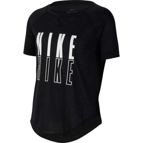 Nike Girls Trophy Graphic Tee, Black / White, rebel_hi-res
