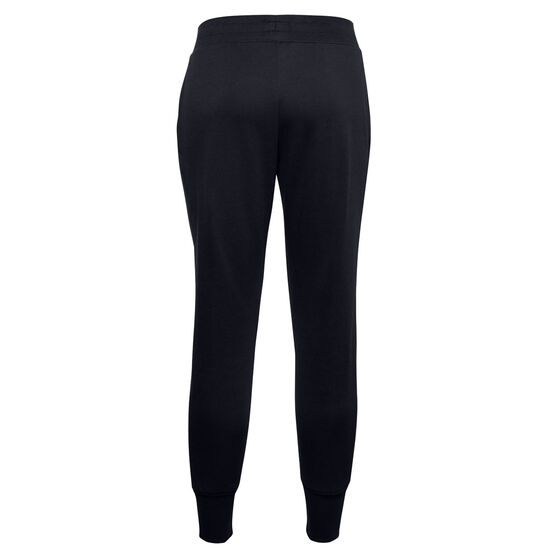 Under Armour Womens UA Rival Fleece Embroidered Track Pants, Black, rebel_hi-res