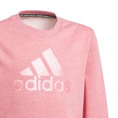 Adidas Girls Icons Logo Crew Sweatshirt, Pink, rebel_hi-res