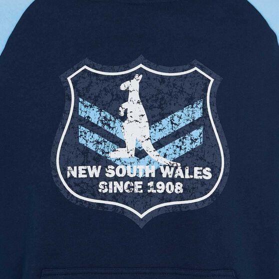 NSW State of Origin Mens Vintage Shield Hoodie, Blue, rebel_hi-res