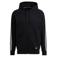 Adidas Mens FI Full Zip Hoodie Black S, Black, rebel_hi-res