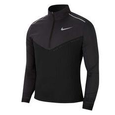 Nike Mens Element Half Zip Running Top Black XS, Black, rebel_hi-res