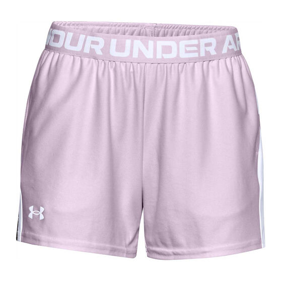 Under Armour Womens UA Play Up Slit Shorts, Purple, rebel_hi-res