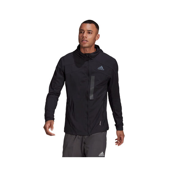 adidas Mens Marathon Translucent Running Jacket Black L, Black, rebel_hi-res