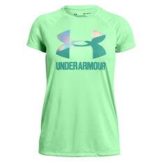 Under Armour Girls Solid Big Logo Tee Green / White XS, Green / White, rebel_hi-res