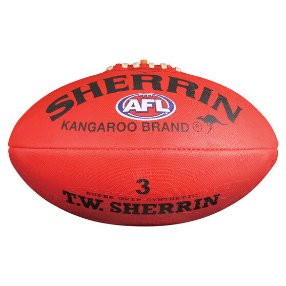 Sherrin Synthetic Australian Rules Ball, Red, rebel_hi-res