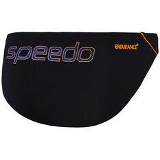 Speedo Boys Endurance Swim Briefs Black / Orange 10, Black / Orange, rebel_hi-res