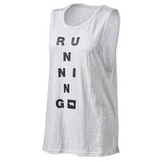 Running Bare Womens Guns Out Muscle Tank Grey 8, Grey, rebel_hi-res