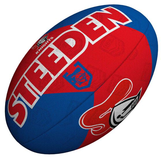 Steeden NRL Newcastle Knights 11 Inch Supporter Rugby League Ball Blue/Red 11 Inch, , rebel_hi-res
