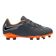 Nike Hypervenom Phantom III Academy Junior Football Boots Grey / Orange US 1 Junior, Grey / Orange, rebel_hi-res