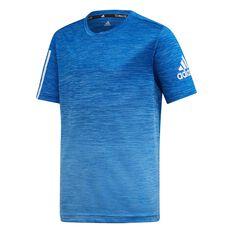 adidas Boys Training Tee Blue / White 8, Blue / White, rebel_hi-res
