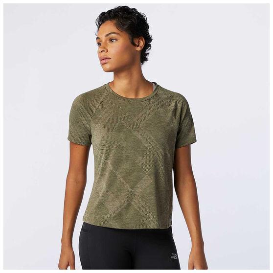 New Balance Womens Q Speed Jacquard Running Tee, Green, rebel_hi-res