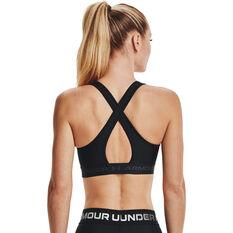 Under Armour Womens Mid Crossback Sports Bra Black XS, Black, rebel_hi-res