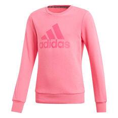 adidas Girls Must Haves Badge of Sport Sweatshirt Pink 6, Pink, rebel_hi-res